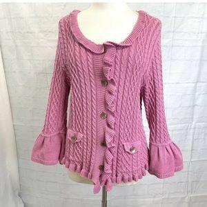J. Jill L Top Sweater Cardigan Knit Pink Crochet